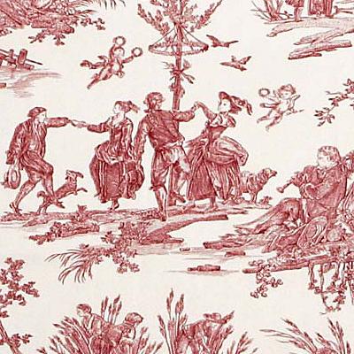 Le mus e de la toile de jouy maison des bois - Papier peint toile de jouy rouge ...
